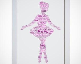 Personalised Ballet Dancer Ballerina Framed Word Art Girls Gift Picture Print Birthday