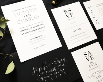 Classic Black and White Wedding Invitation Suite / Traditional / Minimal / Wedding Stationery / Save the Date / Custom Printable Template