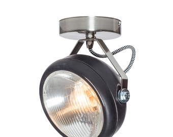 No.7 vintage spotlight in black – vintage lamp made of headlight - handmade – wall or ceiling light - vintage or industrial interior