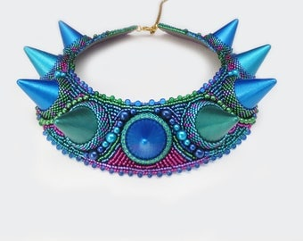 statement necklace - spikes - unique gift for her - tribal necklace - blue green necklace - clothing gift -