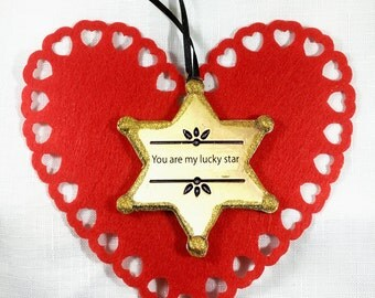 Romantic Valentine Lucky Star Personalized Ornament, Handcrafted Wood, Wedding Engagement Favor Gift Card Husband Wife Sheriff's Badge, Gold