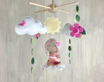 Baby mobile - fairy mobile - garden mobile - sun mobile - felt flowers - cloud mobiles - felt flowers - butterfly mobile little girl mobile