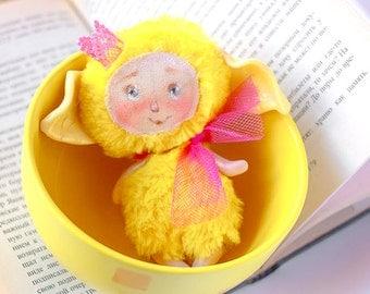 Easter Bunny Easter decorations Bunny Plush toy Yellow Rabbit Stuffed Easter bunny OOAK Cheburashka Easter gift OOAK miniature doll kawaii