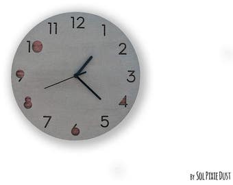 Concrete Circle With Wood- TYPE 2 - Wall Clock  - Modern Wall Clock