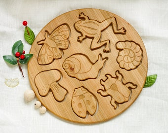 Wooden Puzzle Creatures, Handmade developing toy for toddlers and children, Eco friendly organic wood, Learning nature and animals