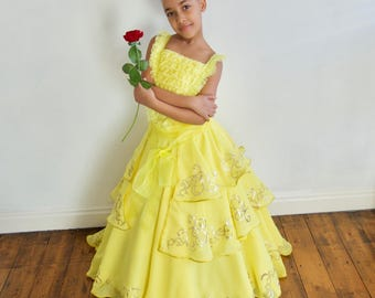 New Belle 2017 inspired Dress, FREE Rose Clip, Age 6 yrs