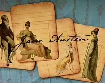 JANE Austen Printable  Library Card   Regency Era  junk journal vintage  book lovers  book lover gift  download  journal cards printable