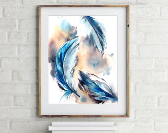 Feathers Wall Art Print, Watercolor Painting of Blue Feathers, Watercolor Art Print, Modern Wall Art
