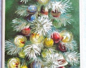 Vintage Christmas Card - Mid Century Flocked Tree - Unused