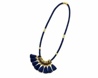 Tassel Statement Necklace Navy, Long Modern Textile Necklace, Tassel Jewelry, Brass Necklace, Gift For Her, Unique Statement Jewelry