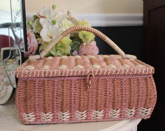 Large Pink Wicker Sewing Box, Large Pink Sewing Basket, Pink Wicker Box, Big Wicker Sewing Box, Big Pink Wicker Sewing Box, Shabby Storage