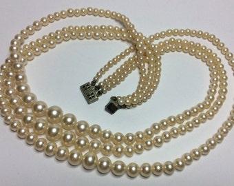 Triple Strand FAUX Pearl RETRO Necklace with Box Clasp (Silver)