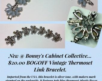 Vintage BOGOFF Stamped Blue Link Bracelet