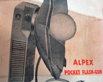 Alpex Pocket Flashgun Type BC Leather Case Instruction Manual Plus Box Vintage