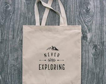 Never Stop Exploring - Wanderlust - 12oz Cotton Canvas Tote Bag