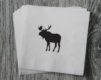 Moose Silhouette - Foil Stamped Hand Printed 3-ply Napkins - Set of 10