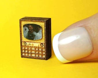 Quarter Scale Miniature TV Television 1/4 1:48 Mid Century Modern Dollhouse Artisan