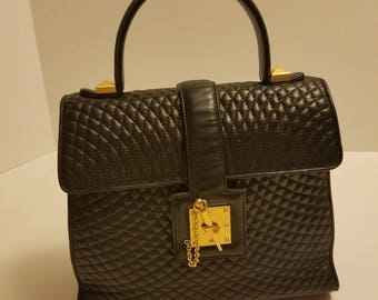 Rare BALLY Quilted Lambskin KELLY BAG Leather Top Handle Handbag
