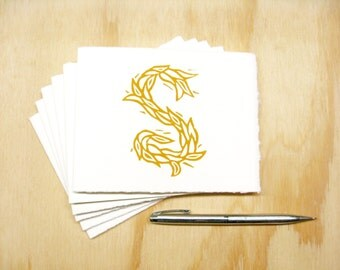 Letter S Stationery - Personalized - Set of 6 Block Printed Cards - READY TO SHIP