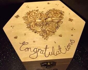 "Pyrography ""Congratulations"" wedding rose box, wedding gift, shabby chic, wood burning art, raw wood, natural, trinket box, wood art........"