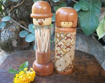 1980s Japanese Creative Functional Boy And Girl Kokeshi Doll Toothpick Holder