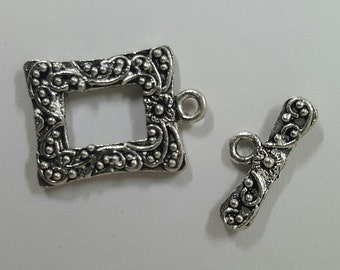 Sterling Silver Picture Frame Toggle Clasp 16.5mm x 12mm - 1 Piece