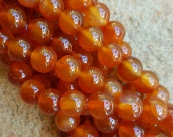 "Natural Carnelian 8mm Round Beads - 14.5"" Strand"