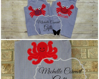 Boys Monogram Shortall, , Crab Jon Jon, Personalized, Romper, Short Set, Newborn 3M 6M 9M 12M 18M 24M 2T 3T Octopus, Beach, Summer Outfit