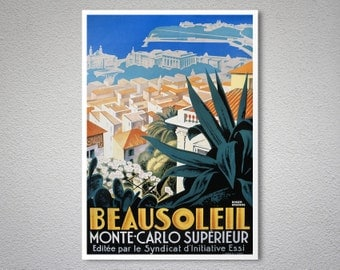 Beausoleil Monte Carlo Superieur Vintage Travel Poster - Poster Print, Sticker or Canvas Print