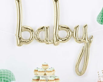 Baby Balloon - Baby Shower Balloon - White Gold Baby Balloon - White Gold Balloons