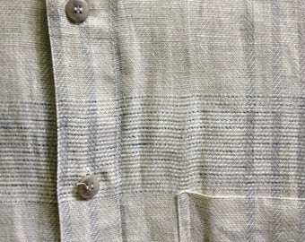 1980s Novelty Weave Natural Linen Band Collar Shirt Italy