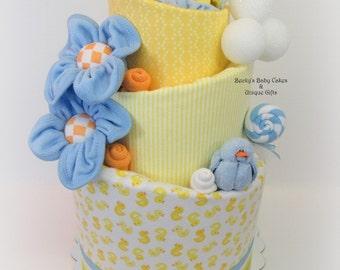 Duck Baby Shower, Duck Diaper Cake, Gender Neutral Baby Gifts, Neutral Baby  Shower