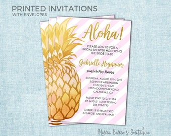 Printed Pineapple Bridal Shower Invitations, Tropical, Gold Pink Blush, Luau, Hawaiian, Glitter, Simple, Girly, Cute, Brunch Bubbly, MB022