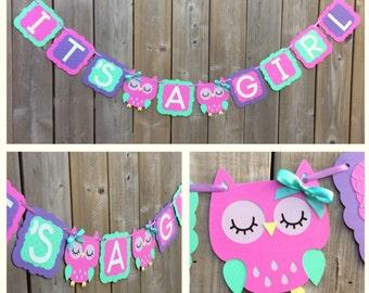 IT'S A GIRL Owl banner, purple owl banner, baby shower decoration, owl baby shower banner, gender reveal