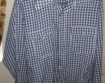Vintage Blue And White Gingham Levi Western Shirt