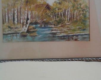 Vimtage Watercolour/ Aspen Trees /Stream/Cabin/Signed G. Fenton