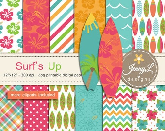 Surfing digital papers and clipart SET, Surfing Board, Hibiscus, Tree, Sun for Digital Scrapbooking, birthday invitations Planner