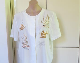 SALE 70s 80s white embroidered blouse, fish nautical shirt,  button shirt, white blouse shirt, vintage, embroidered shirt  M L 14 16 417/212