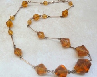 Vintage Art Deco Amber Glass Bi-cone Bead Necklace.