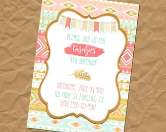 Custom Gold Foil Native American - Aztec - Tribal - Invitation - Bridal Shower - Baby Shower - Retirement - Birthday Party