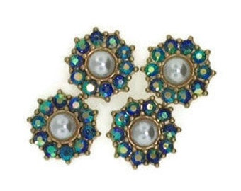 Pearl and Sapphire AB Floral components (4 Pieces)