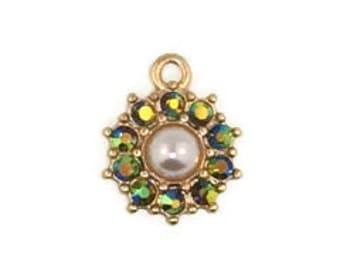 12mm Crystal and Pearl Floral Pendant