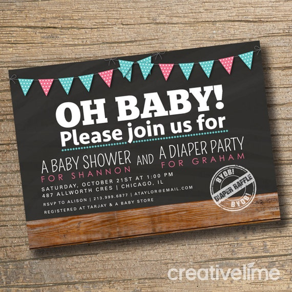 couples baby shower invitation co ed baby shower invite diaper party