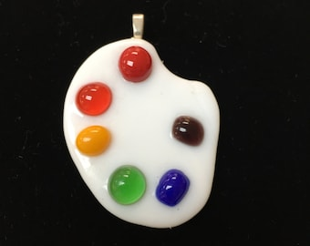 Artist palette Fused glass pendant