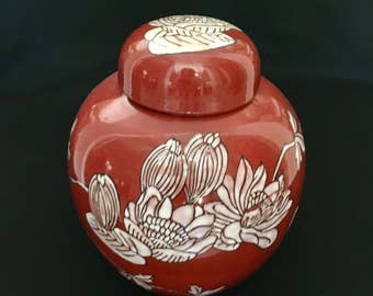 Red and White Floral Ginger Jar