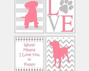 Baby Girl Nursery Wall Art - Dog Nursery Prints - Pink and Grey Nursery Decor - Kids Wall Art - Puppy Nursery Art Print - Pick Size SP2500