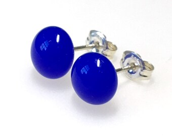 Earrings - Handmade Fused Glass Stud Earrings, Bright Blue Glass and Sterling Silver Stud Earrings