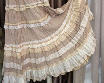 Romantic  summer  light beige color  skirt  in the style of boho shic.