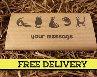 Personalised Black Cat Handmade Chocolate Bar Greetings Card. Birthday / congratulations / get well soon / halloween / Thank you. FREE P&P