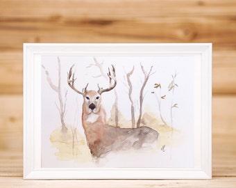 Watercolor animals Deer Original watercolor painting Home decor Wall art  Nature art Gifts for Christmas Original art